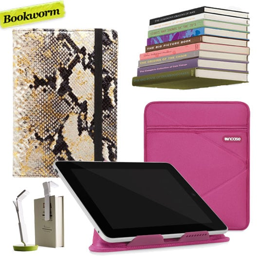Miron Lor Invisable Conceal Bookshelf ($15), Simone Spalvieri and Valentina Del Ciotto Graphic Image Electronic Reader Cover ($95), InCase iPad Origami Stand Sleeve ($35),  Starlite USB Rechargeable LED Light ($25)