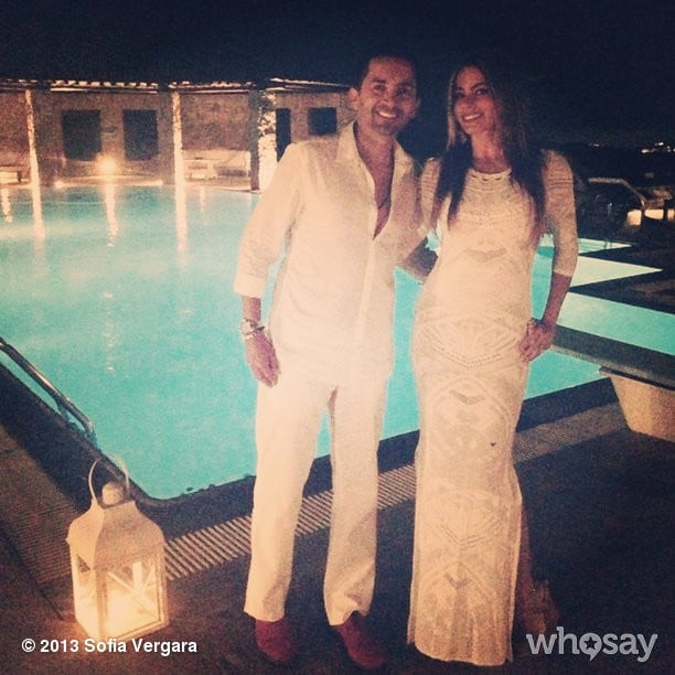 Sofia Vergara posed in all white by the pool. Source: Sofia Vergara on WhoSay