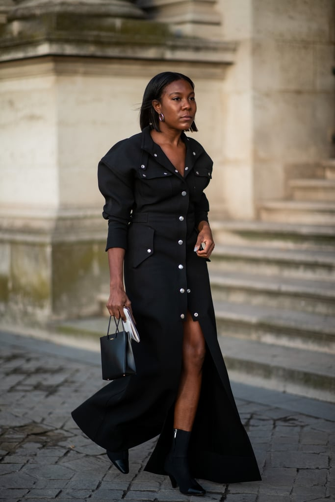Wear a button-down dress with boots.