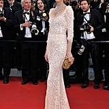 Eva Herzigova stepped onto the red carpet of the opening of the Cannes Film Festival and premiere of Moonrise Kingdom.
