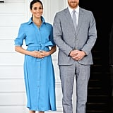 Meghan in a Bright Blue Shirtdress