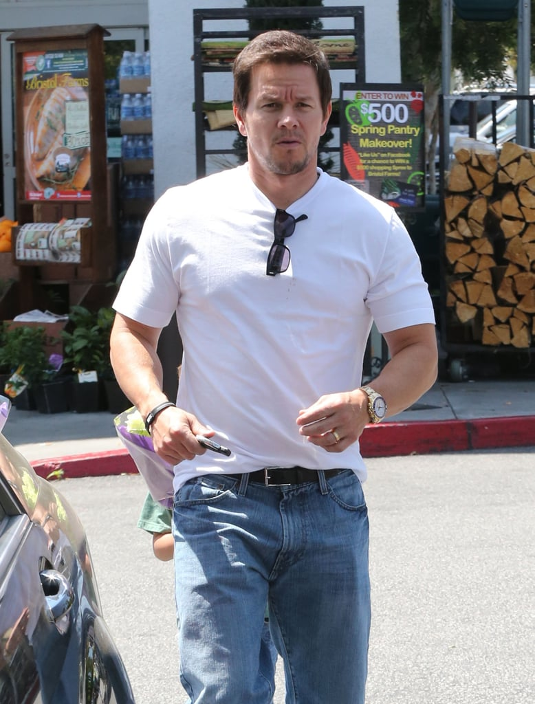 Mark Wahlberg kept it casual with a white tee and blue jeans on Monday in LA.