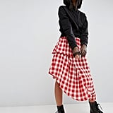 Asos Red Gingham Deconstructed Midi Skirt