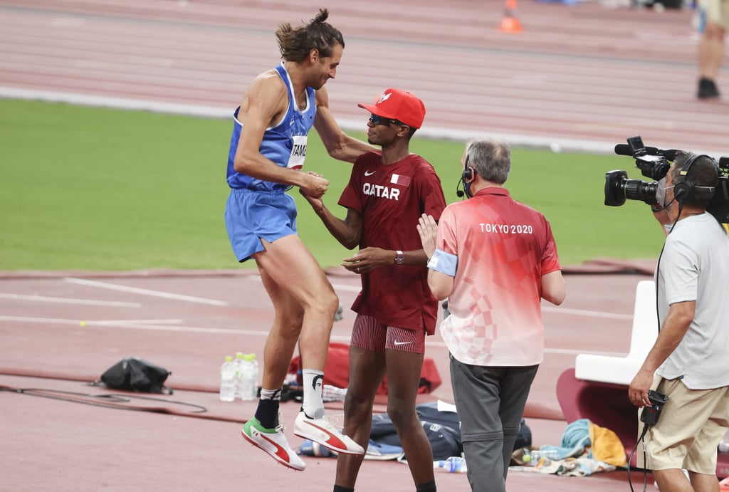 """Italy's Gianmarco Tamberi and Qatar's Mutaz Essa Barshim have officially reached new heights in their friendship. Over the weekend, the longtime rivals and friends competed for the gold medal in the men's high jump competition at the Tokyo Olympics, and it ended in a way that no one could've predicted. The two athletes cleared the high jump at 2.37 meters and both missed the bar at 2.39 meters after three attempts, so instead of competing in a jump-off to determine who would win gold and who would win silver, Tamberi and Barshim agreed to share the gold medal. The Qatari athlete was heard asking an official """"Can we have two golds?"""" amid the emotional moment. (Because we know you're wondering, 2.37 meters equates to 7 feet, 9 1/4 inches.) It's unusual for a tie like this to happen during the Games, and it's the first joint Olympic win since 1912, but it's without a doubt the ultimate display of sportsmanship. Tamberi and Barshim go way back, and their friendship-slash-rivalry stretches beyond the track. According to USA Today, the two met at a competition in 2010 and have maintained their friendship since. They're there for each other during major life events, like weddings, date nights, and even injuries. Right before the 2016 Olympics in Rio, Tamberi broke his ankle and was unable to compete in the Games. Not only has he kept his cast, but he wrote """"Road to Tokyo 2020 2021"""" on it and brought it out as he celebrated his gold-medal win. Barshim endured a similar injury two years after Tamberi's, and Tamberi was there to support him emotionally. """"He is one of my best friends, not only on the track, but outside the track,"""" Barshim said. """"We work together. This is a dream come true. It is the true spirit, the sportsman spirit, and we are here delivering this message."""" Check out photos of the emotional moment Tamberi and Barshim both won the gold medal.      Related:                                                                                                          """