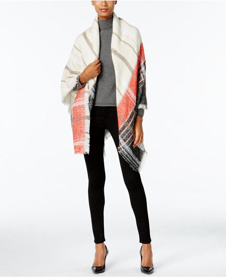 Vince Camuto Colorblock Plaid Square Blanket Wrap ($48)