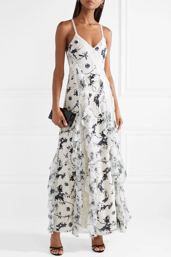 56a894358db4 Alice + Olivia Jayda Lace Trimmed Ruffled Floral Print Silk Crepe de Chine Maxi  Dress