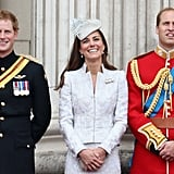 Princes Will and Harry had a picture-perfect moment with Kate Middleton as they took part in the traditional Trooping the Colour festivities in 2014.