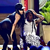 Nicki Minaj got close to Lil Wayne during their performance.