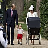 On the way to Charlotte's christening, Kate took a loving look at a tiny George.