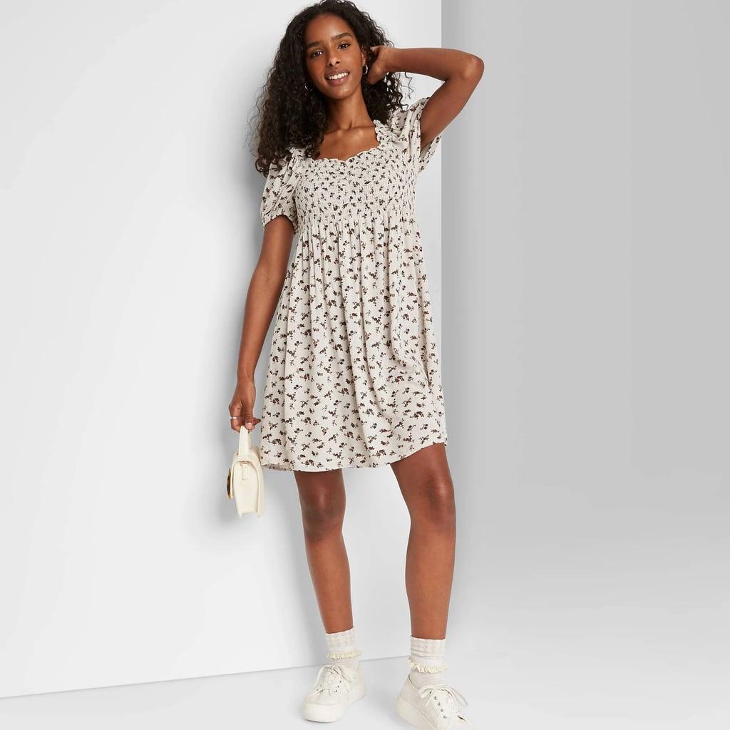 Puff Short Sleeve Smocked Dress
