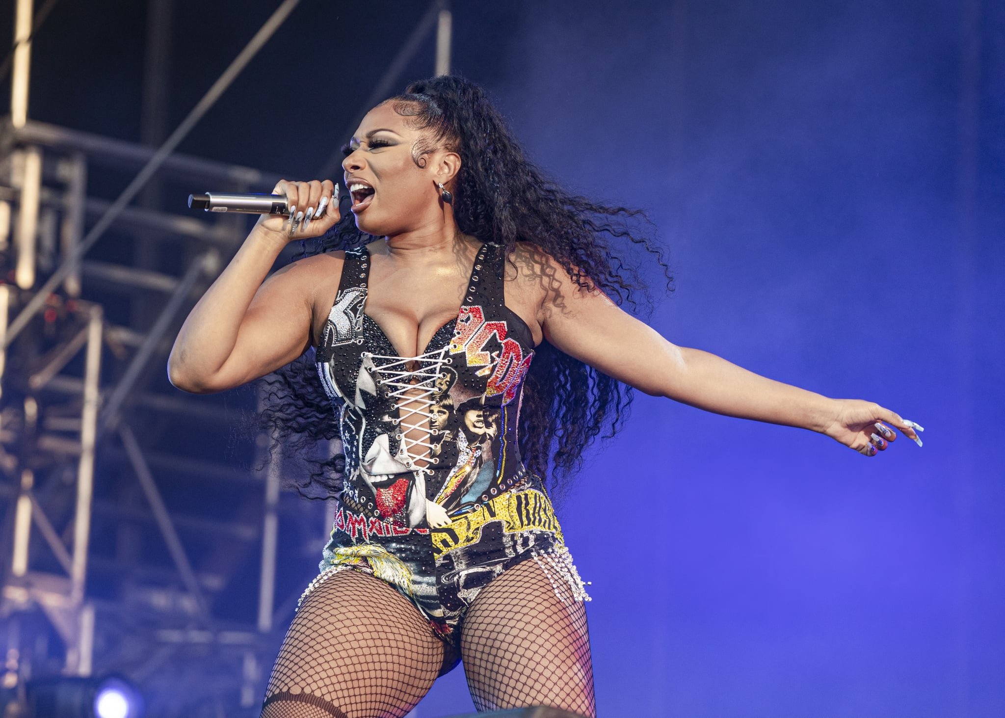 CHICAGO, ILLINOIS - JULY 31: Megan Thee Stallion performs on day 3 of Lollapalooza at Grant Park on July 31, 2021 in Chicago, Illinois. (Photo by Scott Legato/Getty Images)