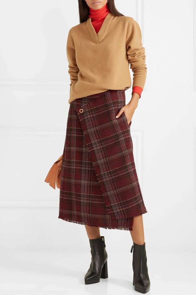 Acne Studios Checked Tweed Wrap-Effect Skirt