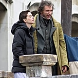 Anne Hathaway and Hugh Jackman were filming on the London rooftops.