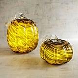 Pier 1 Imports Green & Gold Art Glass LED Light-Up Pumpkins