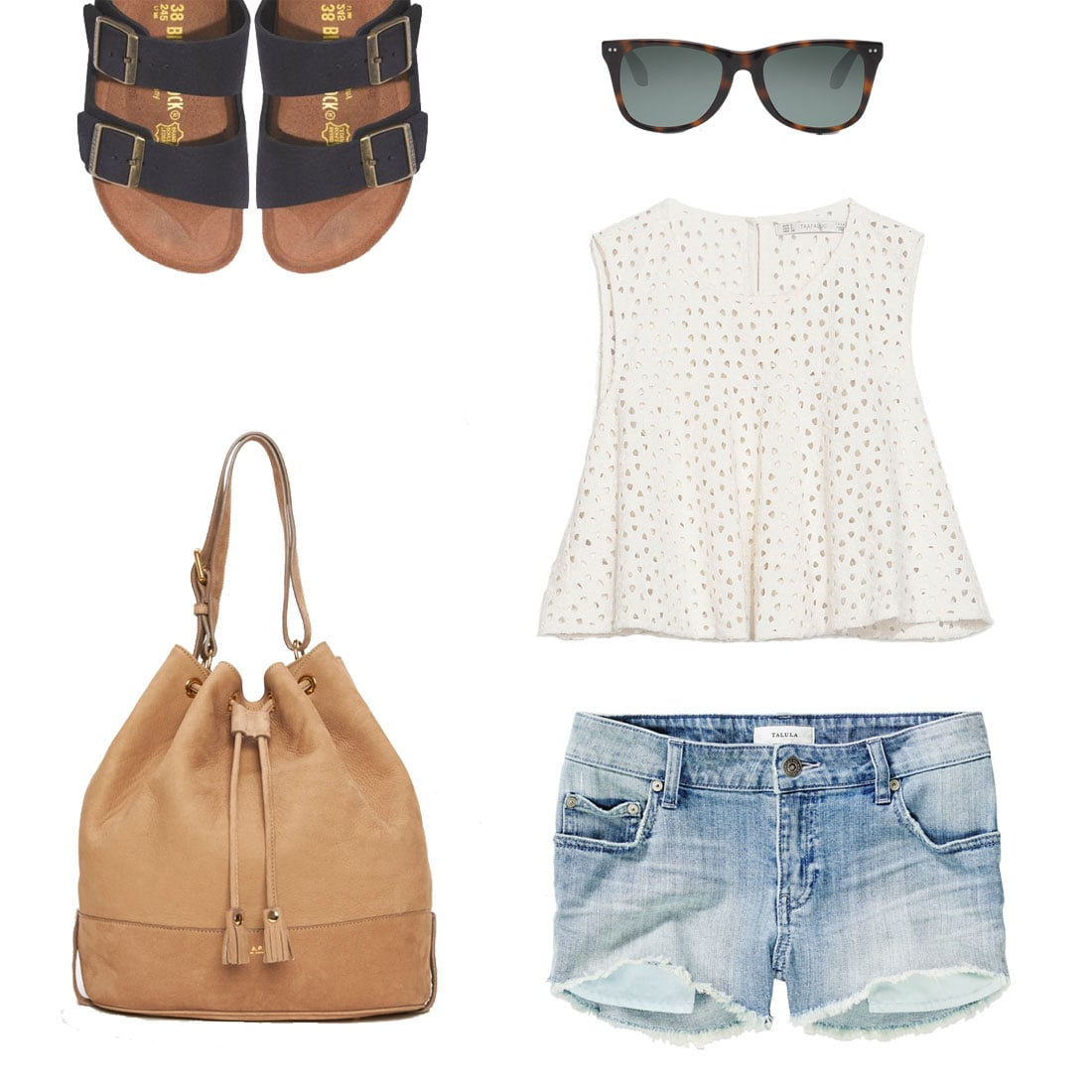 If you've got an easy beach day on the itinerary or you're having a low-key hangout with friends, stick to Summer staples like cutoffs and a breezy eyelet top. Then, add in a touch of the trends with Birkenstocks and a bucket bag in tow.  Shop the look:  Zara Crochet Crop Top ($40) Aritizia Talula The OC Shorts ($60) Toms Windward Tortoise Polarized Sunglasses ($149) A.P.C. Nubuck Sac ($420) Birkenstock & Madewell Arizona Sandals ($120)