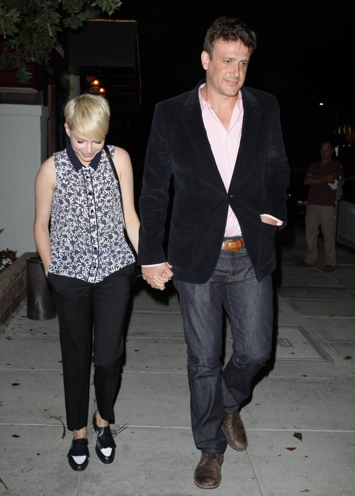 Michelle Williams and Jason Segel were hand in hand for an evening out together in LA yesterday. Jason was dressed up for their date night in a blazer, while Michelle wore a printed blouse. The couple are joined by Michelle's daughter, Matilda Ledger, for their stay on the West Coast. Earlier this week, Michelle and Jason accompanied Matilda to gymnastics class just days after the threesome arrived together at LAX. Before jet-setting across the country, Jason was also spending time with the girls at their home in Brooklyn. Now he's gearing up for a reunion with his How I Met Your Mother costars as they get to work on their eighth season.