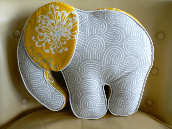 Yellow and Gray Elephant Pillow ($49)