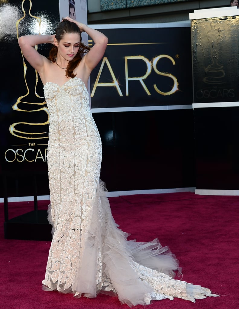 Kristen Stewart showed off her Reem Acra gown on the Oscars red carpet.