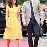 Kate Joined Prince William in a Custom Jenny Packham Dress For Germany Day 2