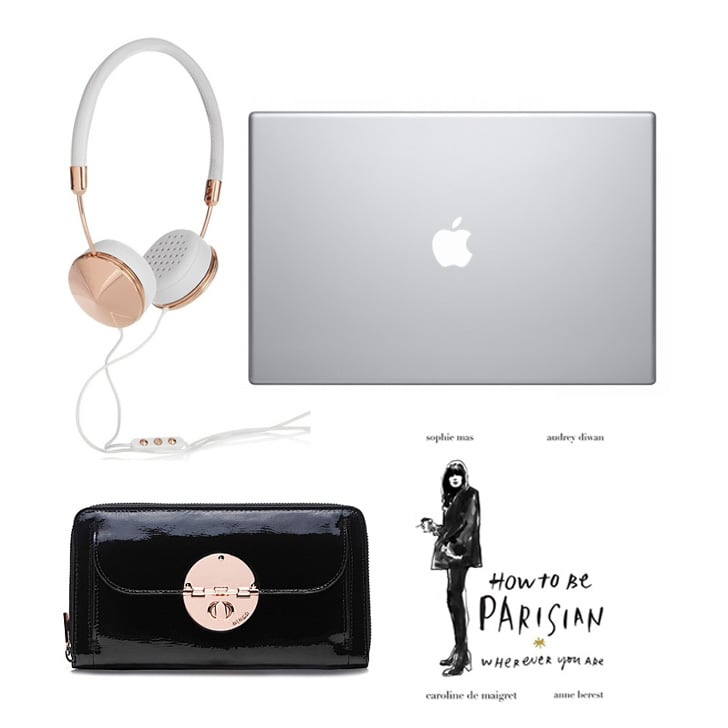 Headphones, $222, Frends at Net-a-Porter; laptop, from $1,799, Apple; book, $34.99, Random House; travel wallet, $229, Mimco