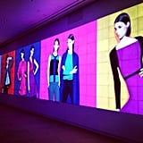 Large, brightly colored screens showcased the Narciso Rodriguez for Kohl's collection.