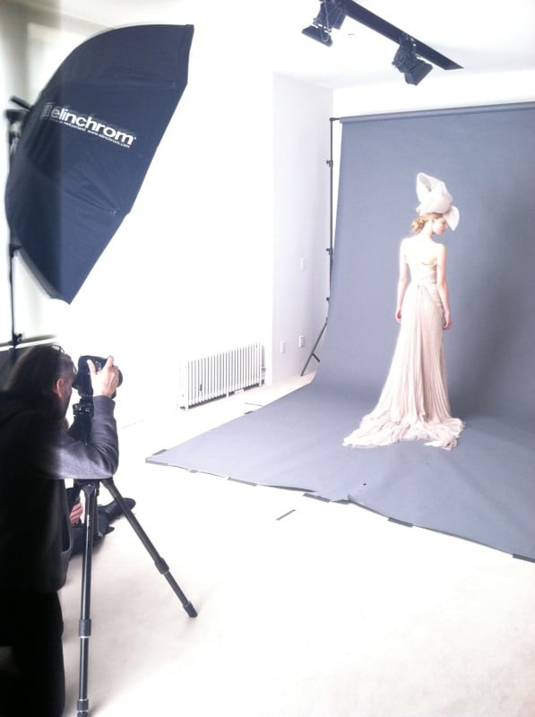 Behind-the-scenes shot of the lookbook shoot for Vera Wang.