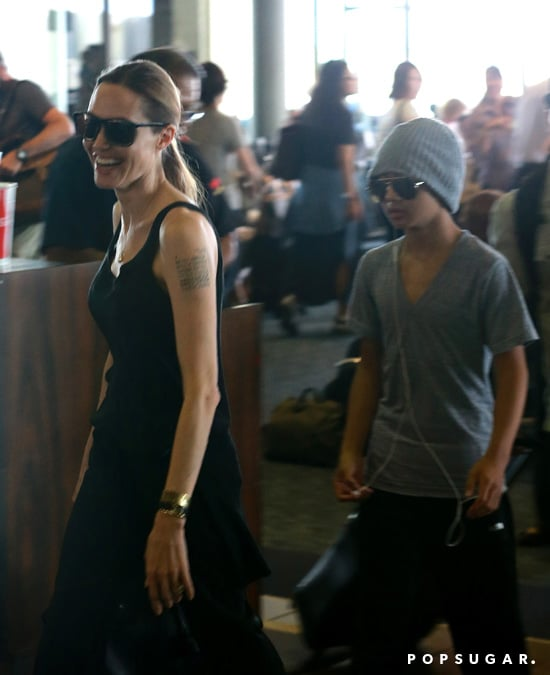 Angelina Jolie arrived in Hawaii with Maddox.