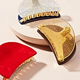 Anthropologie Glittered Velvet Hair Clip Set