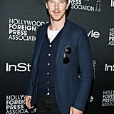 Benedict Cumberbatch sported a cap and a beard at the InStyle and Hollywood Foreign Press Association's event.