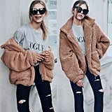Comeon Coat Casual Lapel Fleece Fuzzy Faux-Shearling Zipper Coat