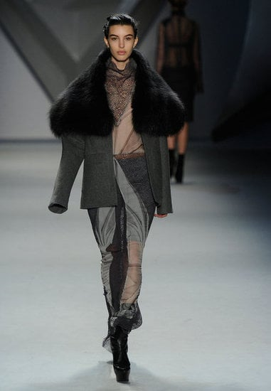 Vera Wang's sculptural take on a jacket, we love the big fur collar.