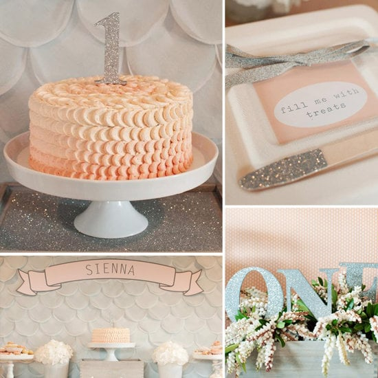 A Glitter-Filled, Silver and Peach Birthday Party