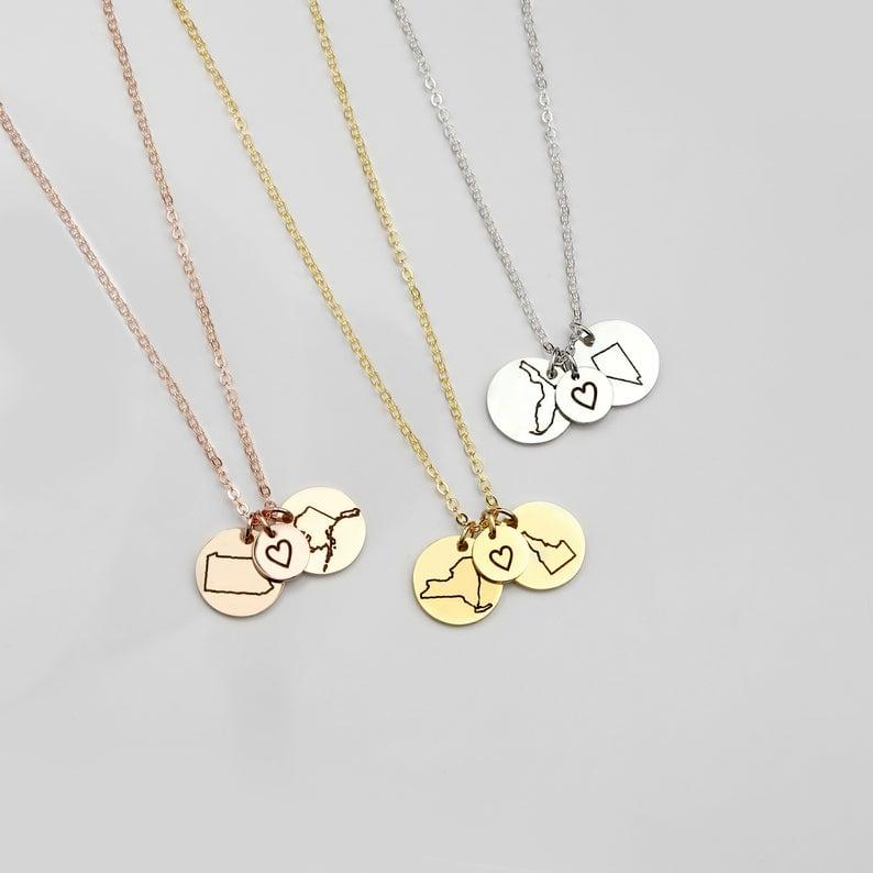 Personalized Long Distance Best Friend Necklace