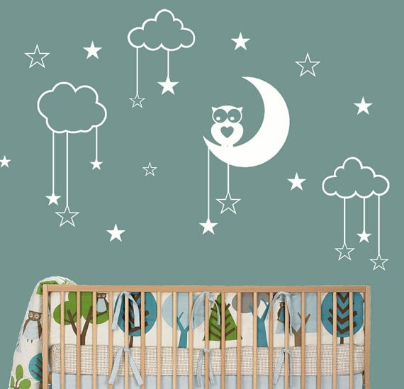 airlie creations owl moon stars nursery wall decal 40 moon and stars clothes for kids. Black Bedroom Furniture Sets. Home Design Ideas
