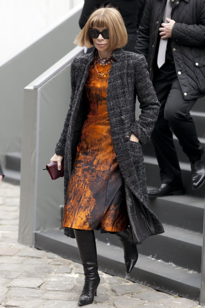 Anna Wintour was easy to spot in her signature look.