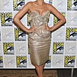 Eva Mendes worked a strapless metallic frock.
