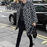 She mixed her two biggest fashion loves back in September 2014 — animal print, and black.