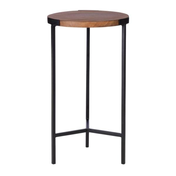 StyleWell Round Black Finish Metal End Table with Haze Finish Wood Top