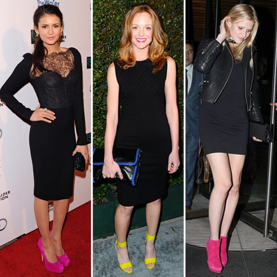 8 Celebs Inspire Us to Work Black Dresses With Neon Shoes