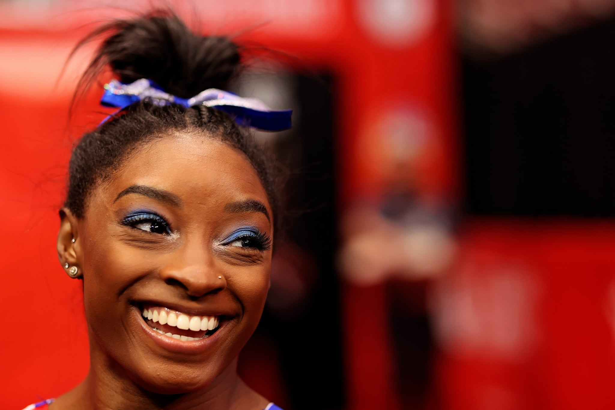 ST LOUIS, MISSOURI - JUNE 25: Simone Biles warms up prior to competition on day 2 of the women's 2021 U.S. Olympic Trials - Gymnastics at America's Centre on June 25, 2021 in St Louis, Missouri. (Photo by Carmen Mandato/Getty Images)