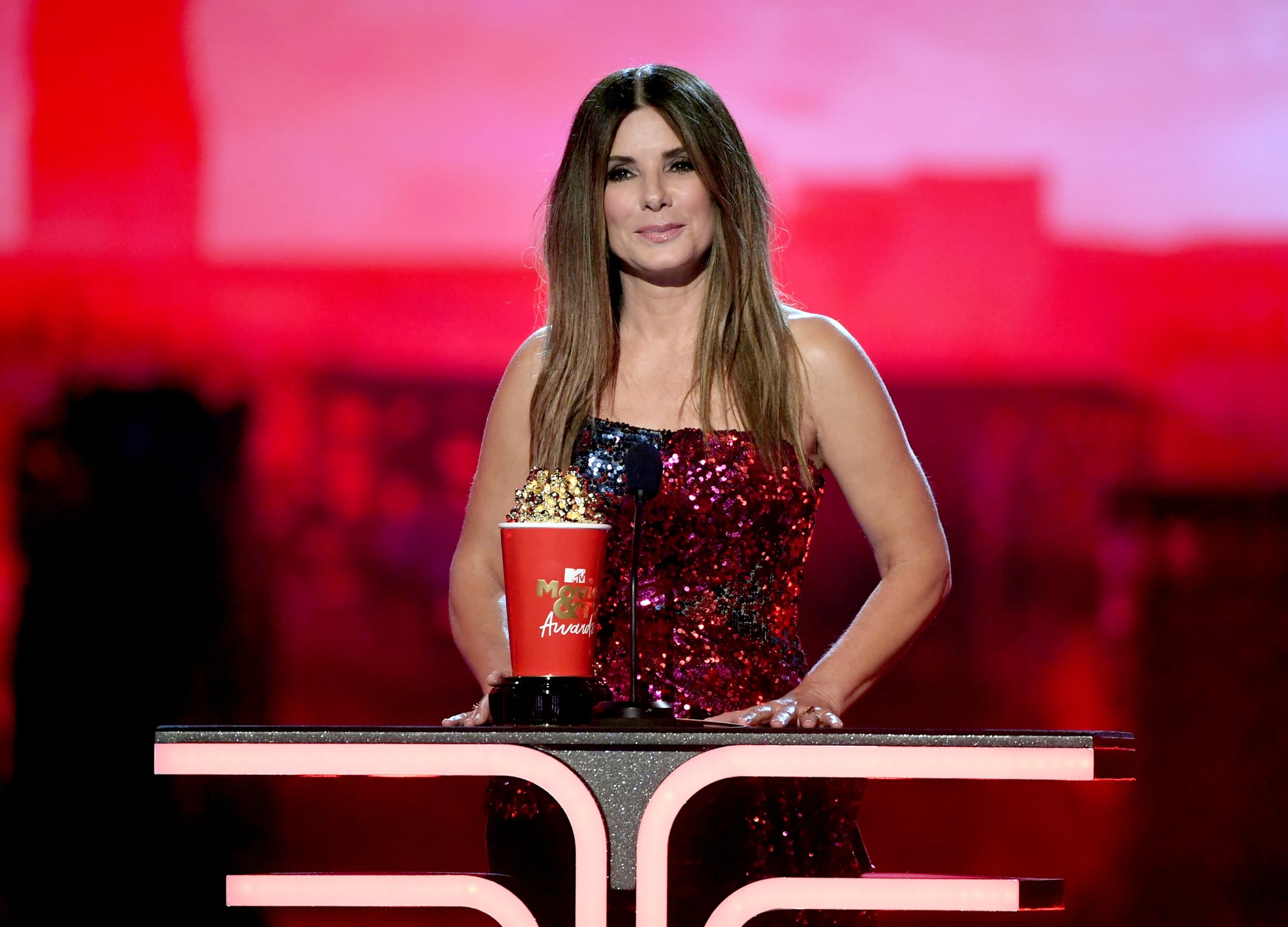 SANTA MONICA, CALIFORNIA - JUNE 15: Sandra Bullock accepts the Most Frightened Performance award for 'Bird Box' onstage during the 2019 MTV Movie and TV Awards at Barker Hangar on June 15, 2019 in Santa Monica, California. (Photo by Kevin Winter/Getty Images for MTV)