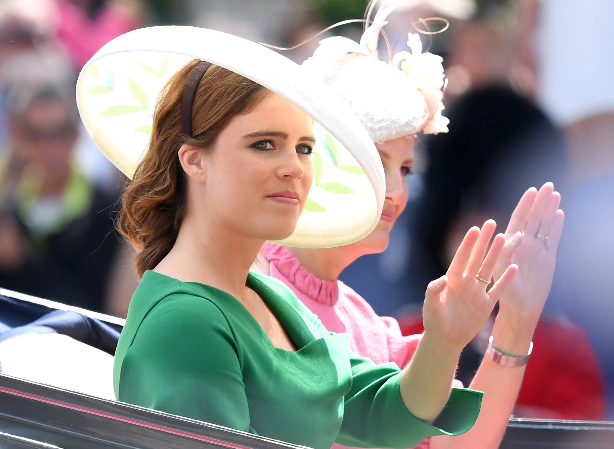 LONDON, ENGLAND - JUNE 09:  Princess Eugenie of York during Trooping The Colour 2018 at The Mall on June 9, 2018 in London, England. The annual ceremony involving over 1400 guardsmen and cavalry, is believed to have first been performed during the reign of King Charles II. The parade marks the official birthday of the Sovereign, even though the Queen's actual birthday is on April 21st.  (Photo by Karwai Tang/WireImage)