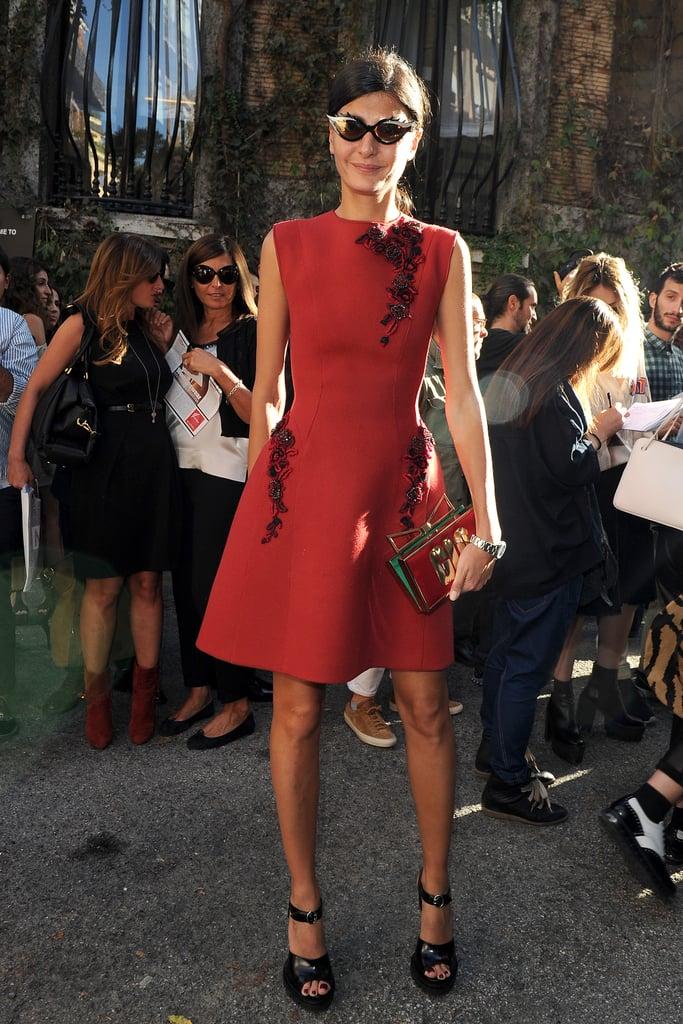 Giovanna Battaglia showcased her detailed designs outside the Alberta Ferretti Milan Fashion Week show.