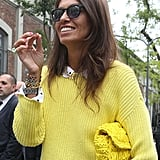 Can you spot the accessory? Her crochet clutch blended right in with her lemon-hued knit. Source: IMAXtree