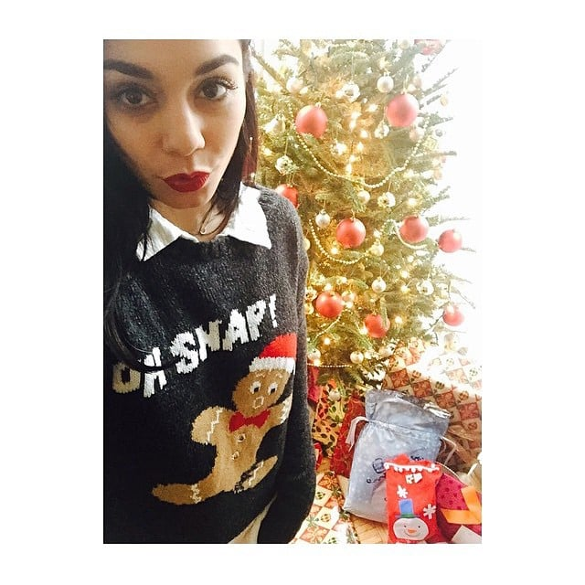 Clad in a festive sweater, Vanessa Hudgens was ready to open presents.
