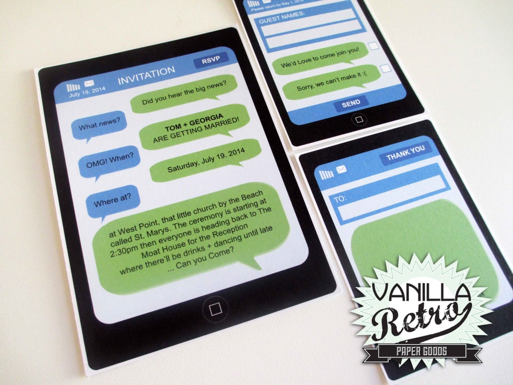 Of course you can't have a geeky wedding-invite roundup without one for iPhone-lovers ($57 for digital file).