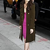 Katie Holmes arrived at the Late Show.