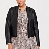 Black Faux Leather Cutaway Moto Blazer