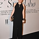 Sienna Miller wore a long black gown.