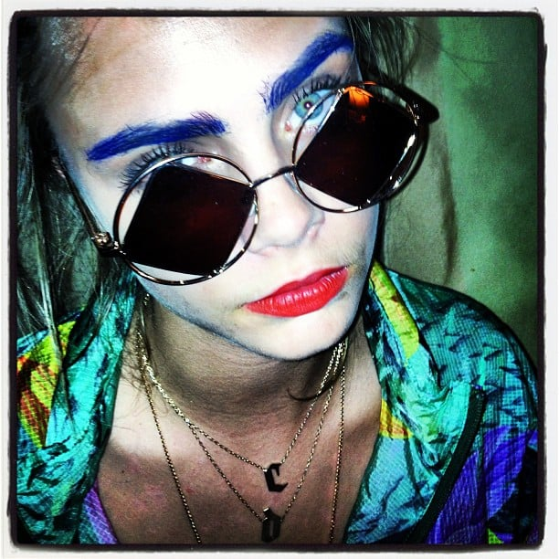 Blue or otherwise, we'd know those brows anywhere! Source: Instagram user caradelevingne